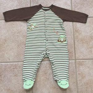 Little Me Boys Frogs 🐸 Striped Sleep & Play